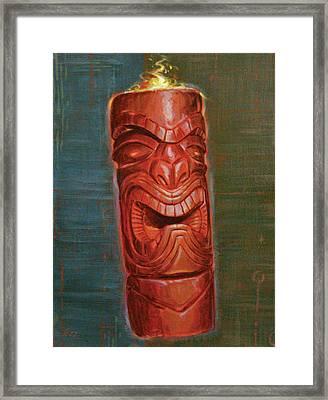 Hot Headed Tiki Framed Print by Shawn Shea