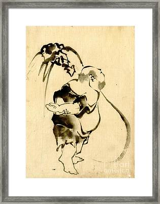 Hotei And Bottomless Bag 1840 Framed Print by Padre Art