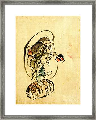 Hotei The God Of Good Fortune 1840 Framed Print by Padre Art