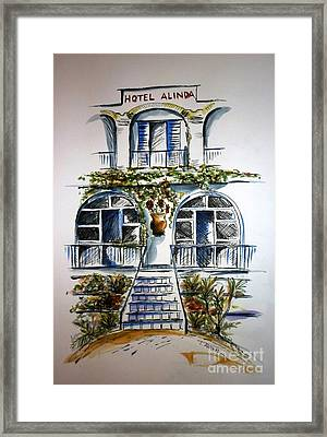 Framed Print featuring the painting Hotel Alinda - Leros by Therese Alcorn