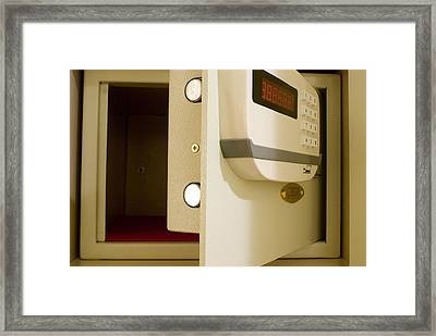 Hotel In-room Safe With Open Door. Framed Print by Mark Williamson