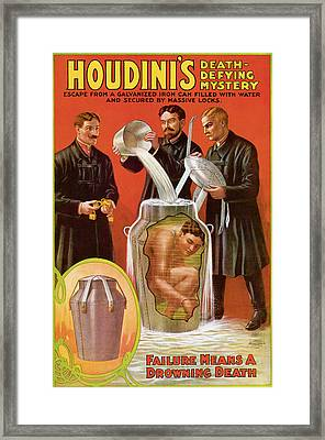 Houdini's Death Defying Mystery Framed Print by Unknown