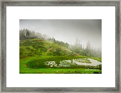 House And Fog Framed Print by Syed Aqueel