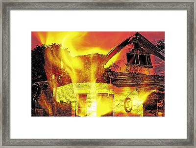 House Fire Illustration Framed Print by Steve Ohlsen