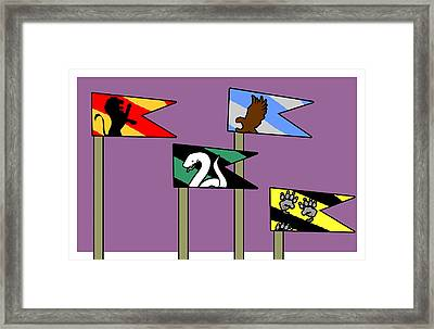 House Flags On Purple Framed Print