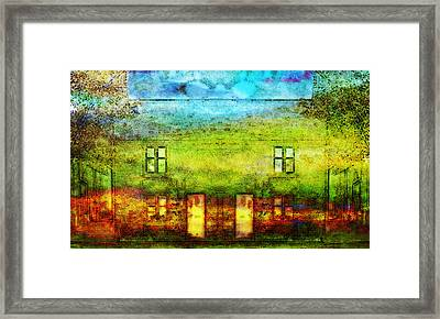 Framed Print featuring the painting House In The Forest by Susan  Solak