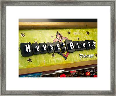 House Of Blues Sign Chicago Framed Print by Paul Velgos