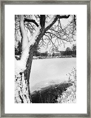 House On Frozen Lake Framed Print by Ercole Gaudioso