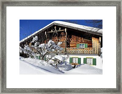 House Under Heavy Snow In Alps Framed Print