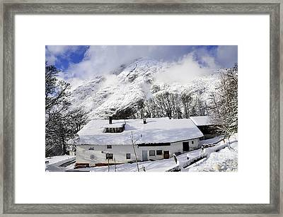 House Under The Alpine Peak Framed Print
