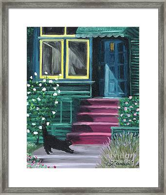 House With A Blue Door  Framed Print by Laura Iverson