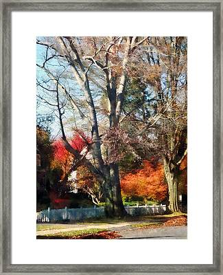 House With Picket Fence In Autumn Framed Print by Susan Savad