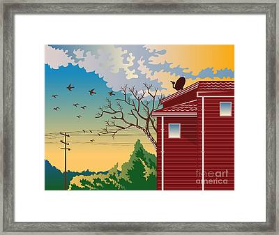 House With Satellite Dish Retro Framed Print