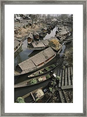 Houseboats Line A Waterway Framed Print by Gordon Wiltsie