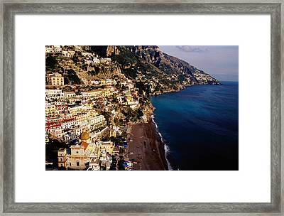Houses And Church Of Santa Maria Assunta Above Spaggia Grande Beach, Positano, Italy Framed Print by Craig  Pershouse