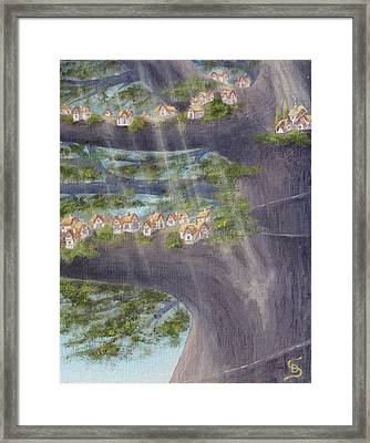 Houses In A Tree From Arboregal Framed Print by Dumitru Sandru
