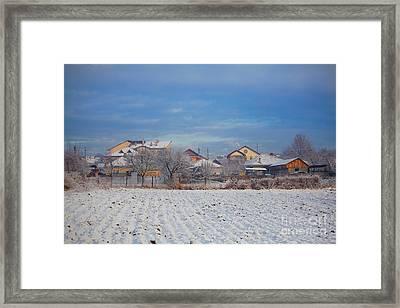 Houses In Winter Framed Print by Gabriela Insuratelu