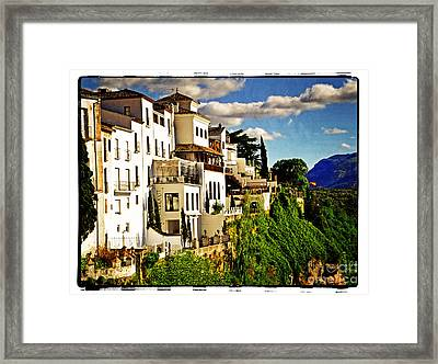 Houses On The Cliff In Ronda Spain Framed Print by Mary Machare