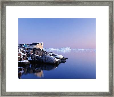 Houses On The Coastline With Icebergs Framed Print by Axiom Photographic