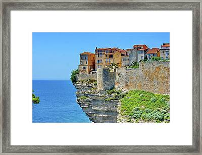 Houses On Top Of Cliff Framed Print by Pascal POGGI