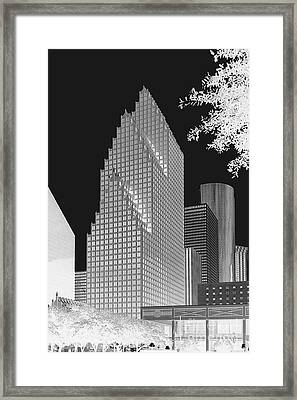 Framed Print featuring the photograph Houston Skyline - Kodak Film Bw Solarized by Connie Fox
