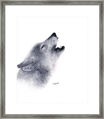 Framed Print featuring the drawing Howl by Lucy D