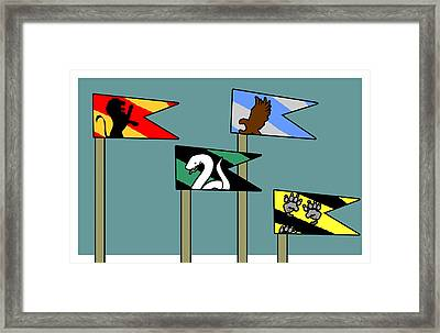 Hp House Flag Teal Framed Print by Jera Sky