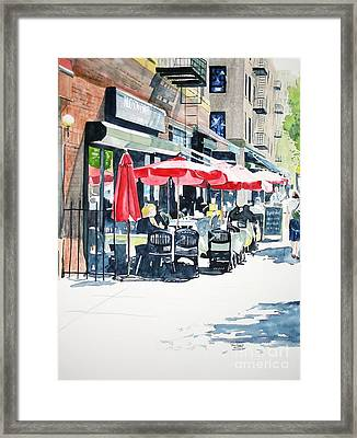 Framed Print featuring the painting Hudson Diner by Tom Riggs