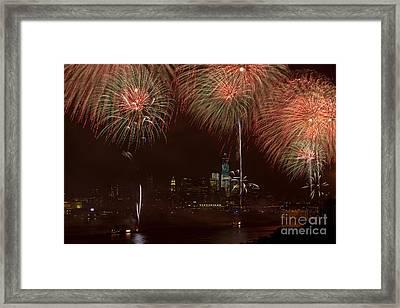 Hudson River Fireworks Xii Framed Print by Clarence Holmes