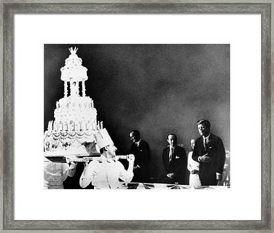 Huge Birthday Cake For President John Framed Print by Everett