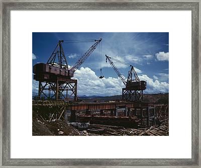 Huge Cranes Lift Steel Beams Framed Print