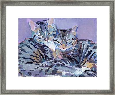 Hugs Purrs And Stripes Framed Print by Kimberly Santini