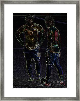 Hulk And Neymar Neon II Framed Print by Lee Dos Santos