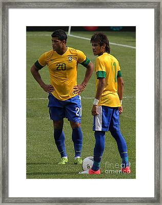 Hulk And Neymar Ready For The Shot Framed Print by Lee Dos Santos