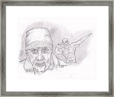 Framed Print featuring the drawing Hulk Hogan- Immortal by Chris  DelVecchio