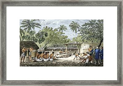 Human Sacrifice In Tahiti, Artwork Framed Print by Sheila Terry