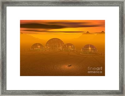 Human Settlement On Alien Planet Framed Print by Carol and Mike Werner and Photo Researchers