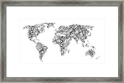 Human Tracks On The World Framed Print by Michal Boubin