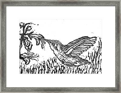 Hummingbird  Block Print Framed Print
