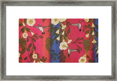 Hummingbird Picnic Framed Print by Cindy Micklos