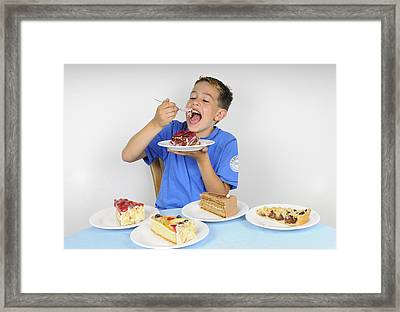 Hungry Boy Eating Lot Of Cake Framed Print