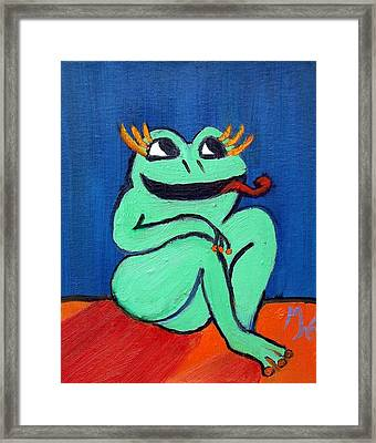 Framed Print featuring the painting Hungry Female Frog by Margaret Harmon