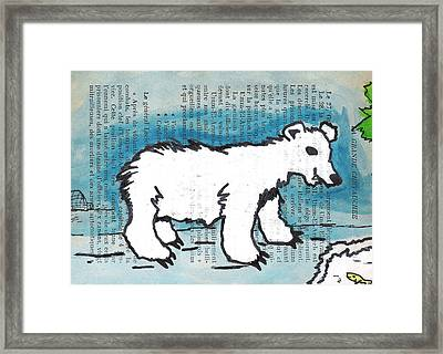 Hungry Polar Bear Framed Print by Jera Sky