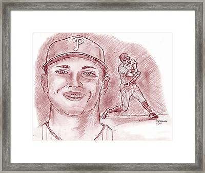 Framed Print featuring the drawing Hunter Pence by Chris  DelVecchio