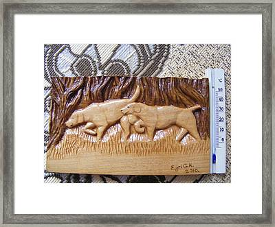 Hunting Dogs-wood Carving Relief And Pyrography Framed Print by Egri George-Christian