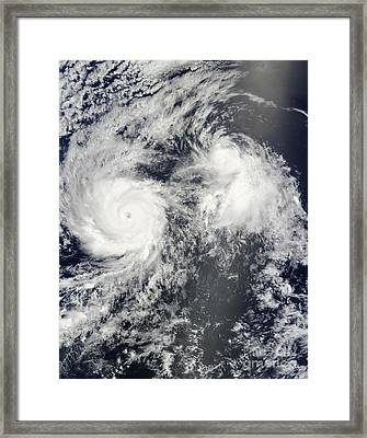 Hurricane Felicia And Tropical Storm Framed Print by Stocktrek Images
