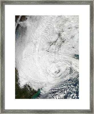 Hurricane Sandy Making Landfall Framed Print