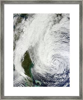 Hurricane Sandy Off The Southeastern Framed Print