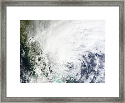 Hurricane Sandy Over The Bahamas Framed Print