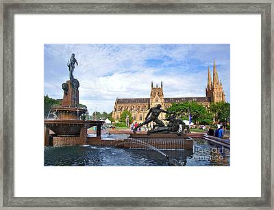 Hyde Park Fountain And St. Mary's Cathedral Framed Print by Kaye Menner